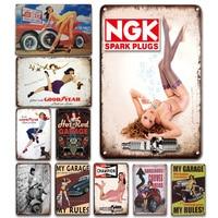 Оловянный знак NGK для свечи зажигания, винтажная наклейка с чемпионом, металлическая тарелка, картина для гаража, настенное украшение, булав...