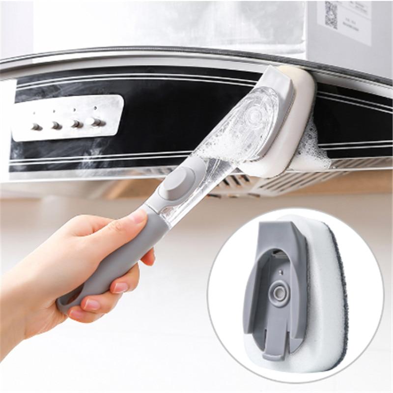Long Handle Pot Brush Automatic Liquid Addition Sponge Dish Washing Brush Strong Decontamination Clean Brush Kitchen Tools NS18 enlarge