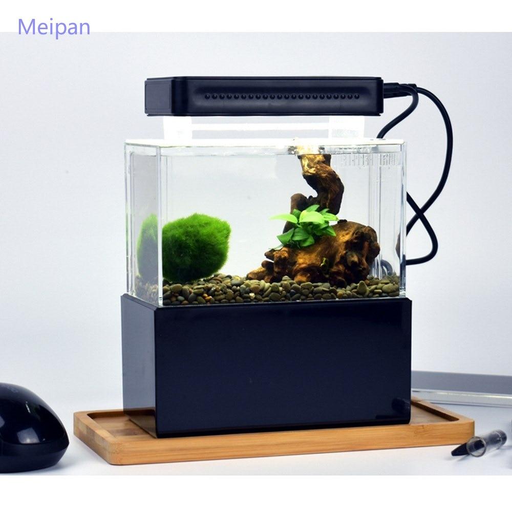 Decorações de Mesa Tigela com Água Bomba de ar Portátil Mini Betta Aquário Aquaponic Peixes Fliter Usb Led Luz