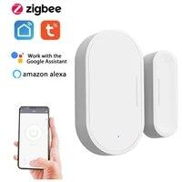 Capteur de porte fenetre intelligent  alarme via lapplication Tuya Smart Life  automatisation de la securite de la maison intelligente  prise en charge de Alexa Google Home Voice  Hub Zigbee