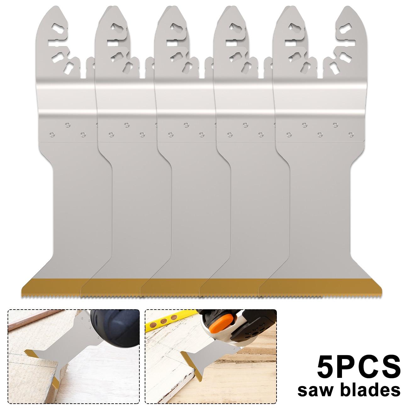 5pcs/set Multi-Function Bi-metal Precision Saw Blade Oscillating Saw Blade for Renovator Power Cutting Multimaster Tools