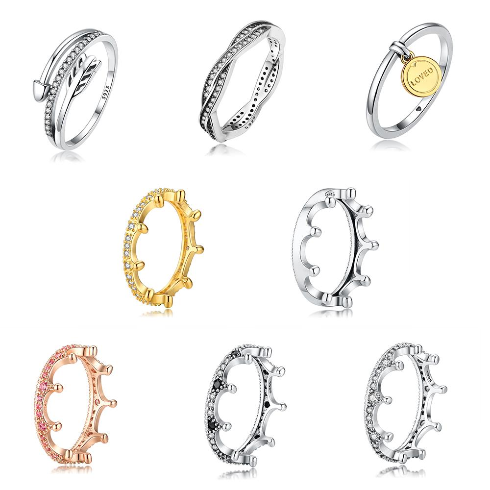 925 Sterling Silver Ring Charms Gold Letter Loved Queen Crow Rose Gold Full Crystal Finger Ring For Women Party Jewelry Gift sterling 925 silver color ring for women wedding jewelry natural garnet stone statement ring classic rose gold ring jewelry gift