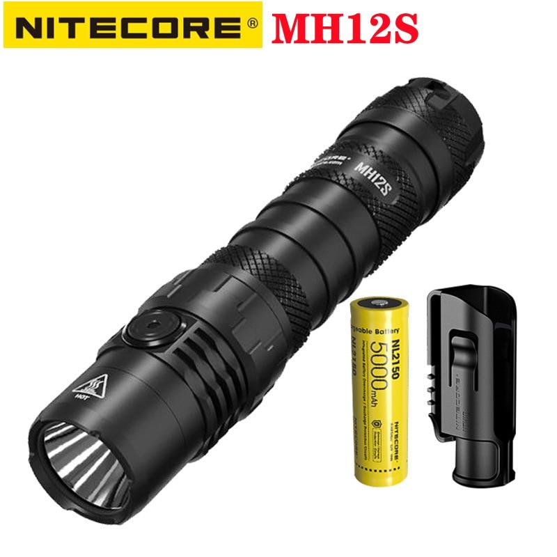 nitecore mh12s lanterna tatica 1800lumens recarregavel super brilhante com 5000mah