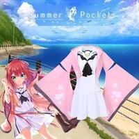 cossun summer pockets reflection blue costume kamiyama shiki sailor skirt suit hoodie kimono girl christmas