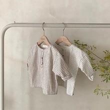 MILANCEL 2020 ملابس الطفل عادية طفل الفتيان قمصان منقوشة الرضع الفتيات بلوزة الجبهة زر الطفل قميص غير رسمي