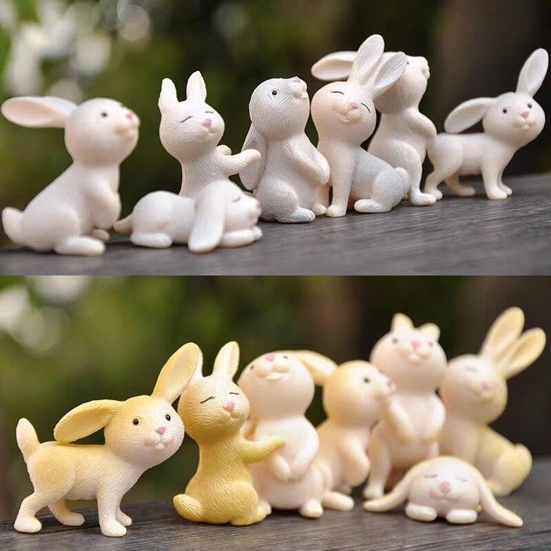 7 pçs/lote Kawaii Simulação Modelo Animal decoração Da Família de Coelhos PVC Action Figure Estatueta Em Miniatura para As Crianças Dos Desenhos Animados Presente Brinquedo