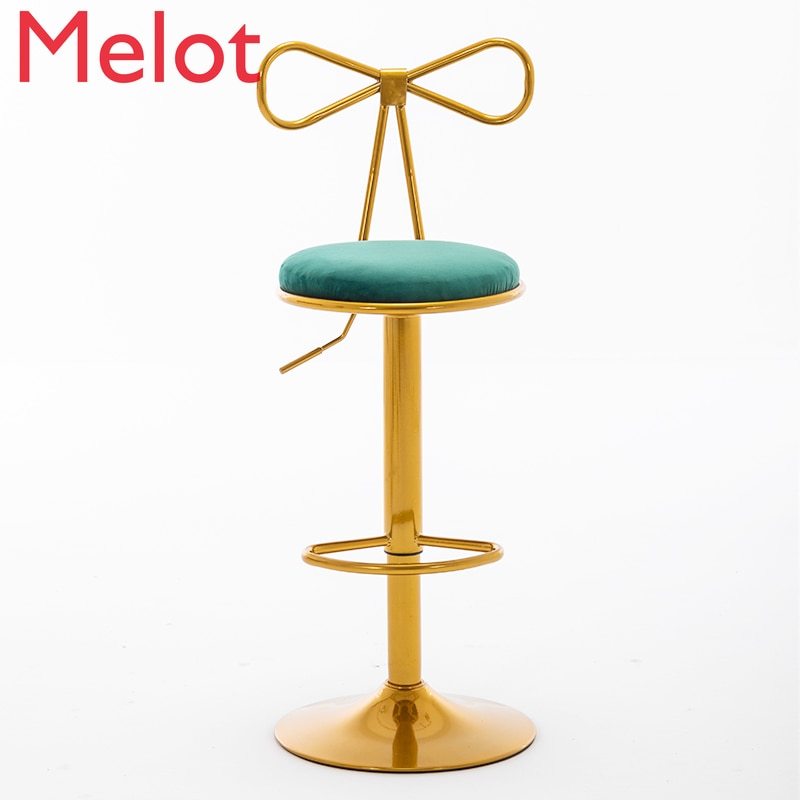 Nordic Golden Bar Chair Swivel Lift Back Iron Dining Simple  Net Red Luxury Home Bow-knot High Stools