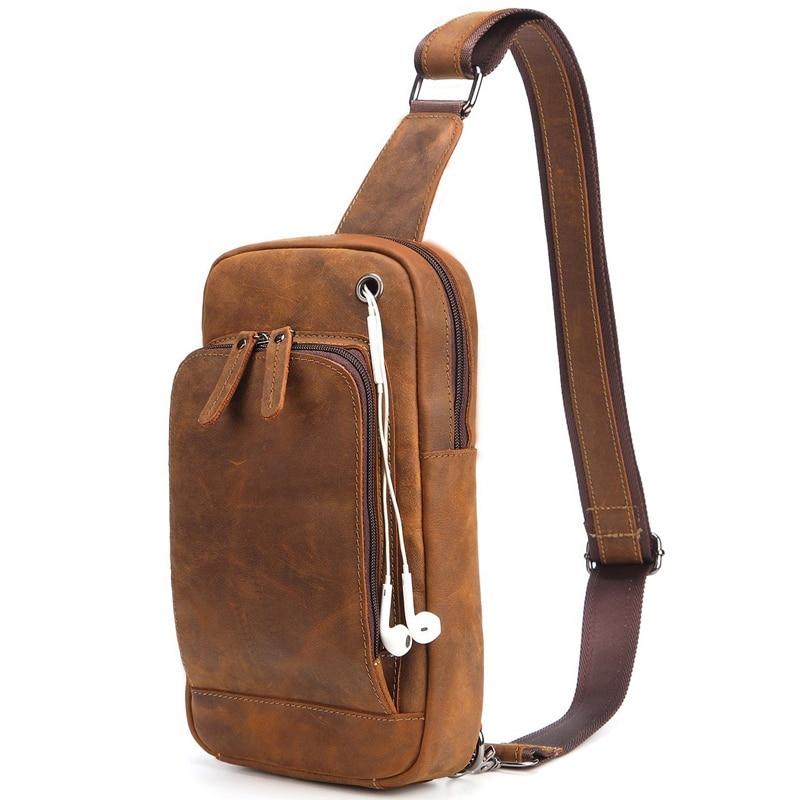 First Layer Cowhide Men Chest Bag Vintage Crazy Horse Small Messenger Bag Travel Single Shoulder Crossbody for Male