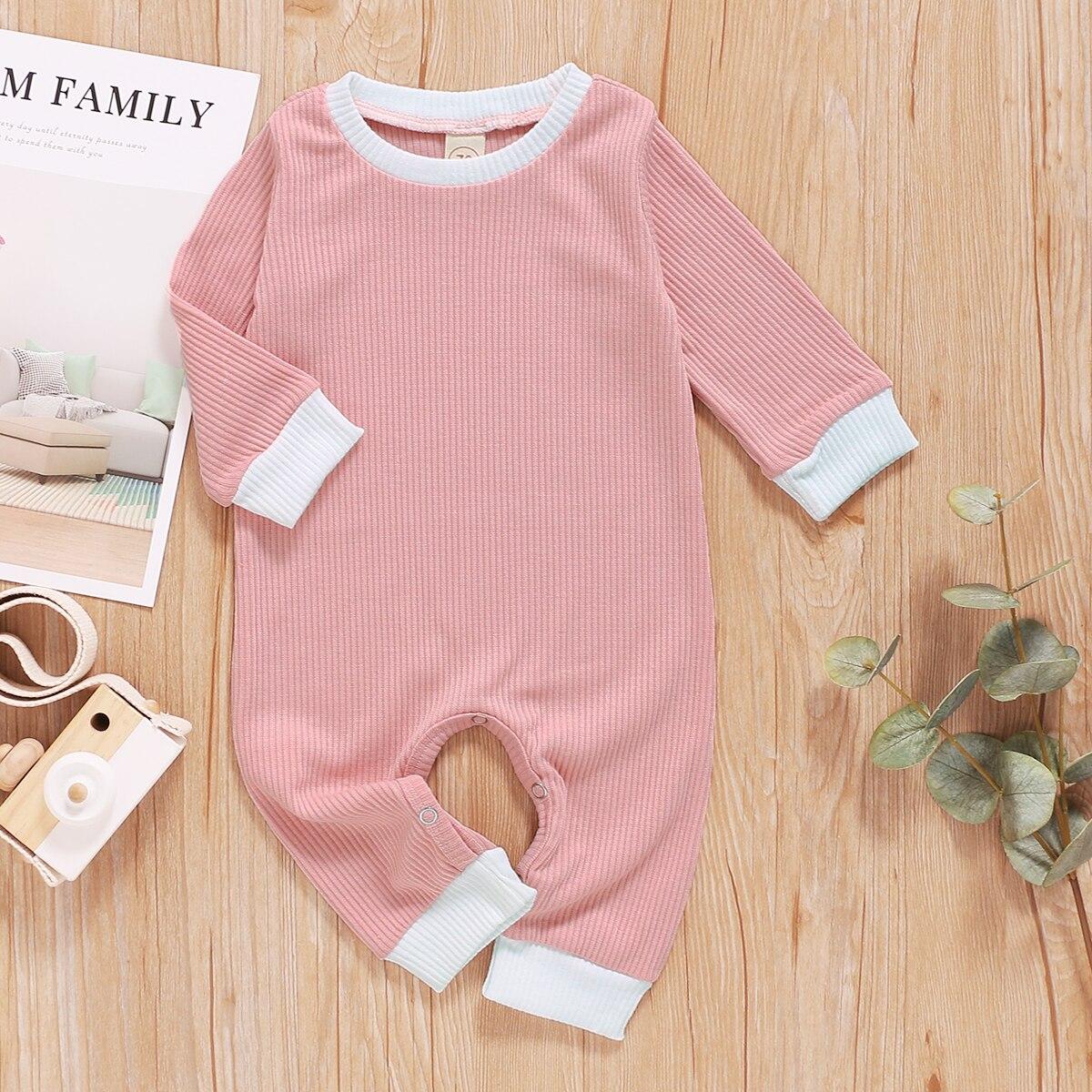 Pelele de bebé recién nacido 2020, ropa de Otoño Invierno, pelele informal liso a rayas de manga larga para bebé, mono, ropa para bebé