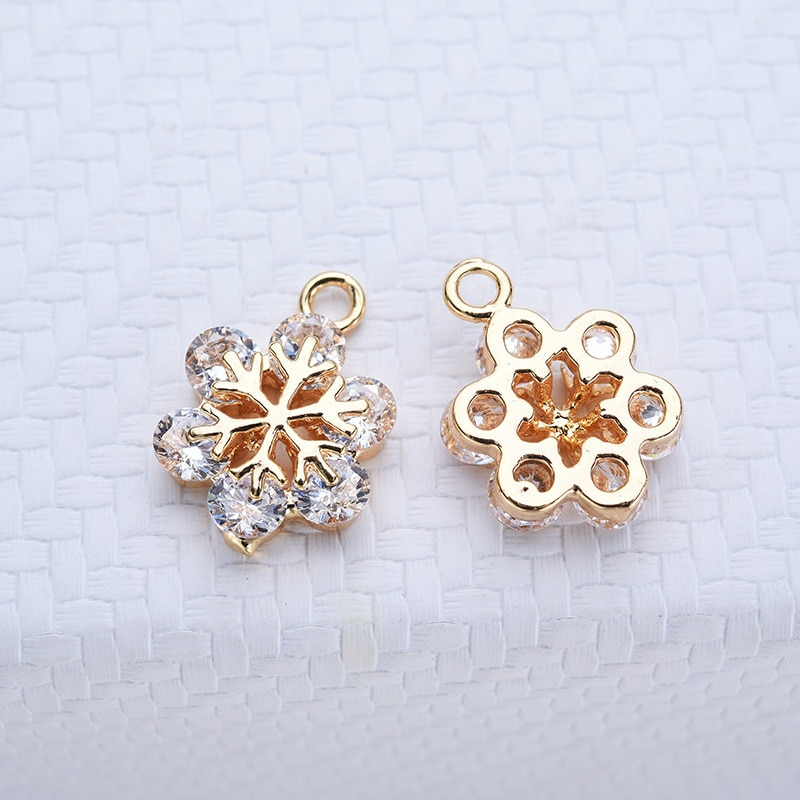 Hot sale diy earring pendant accessories real gold plated zircon snowflake earrings handmade chain