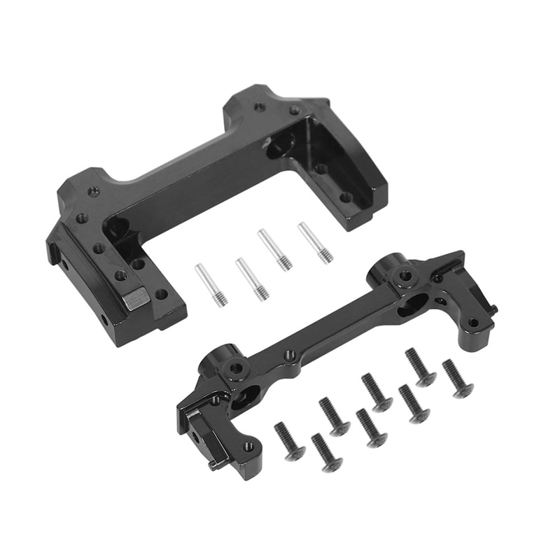 Aluminum Alloy Front Rear Rail Bumper Mounts with Front Servo Mounts for 1/10 RC Crawler Axial SCX10 II 90046 90047