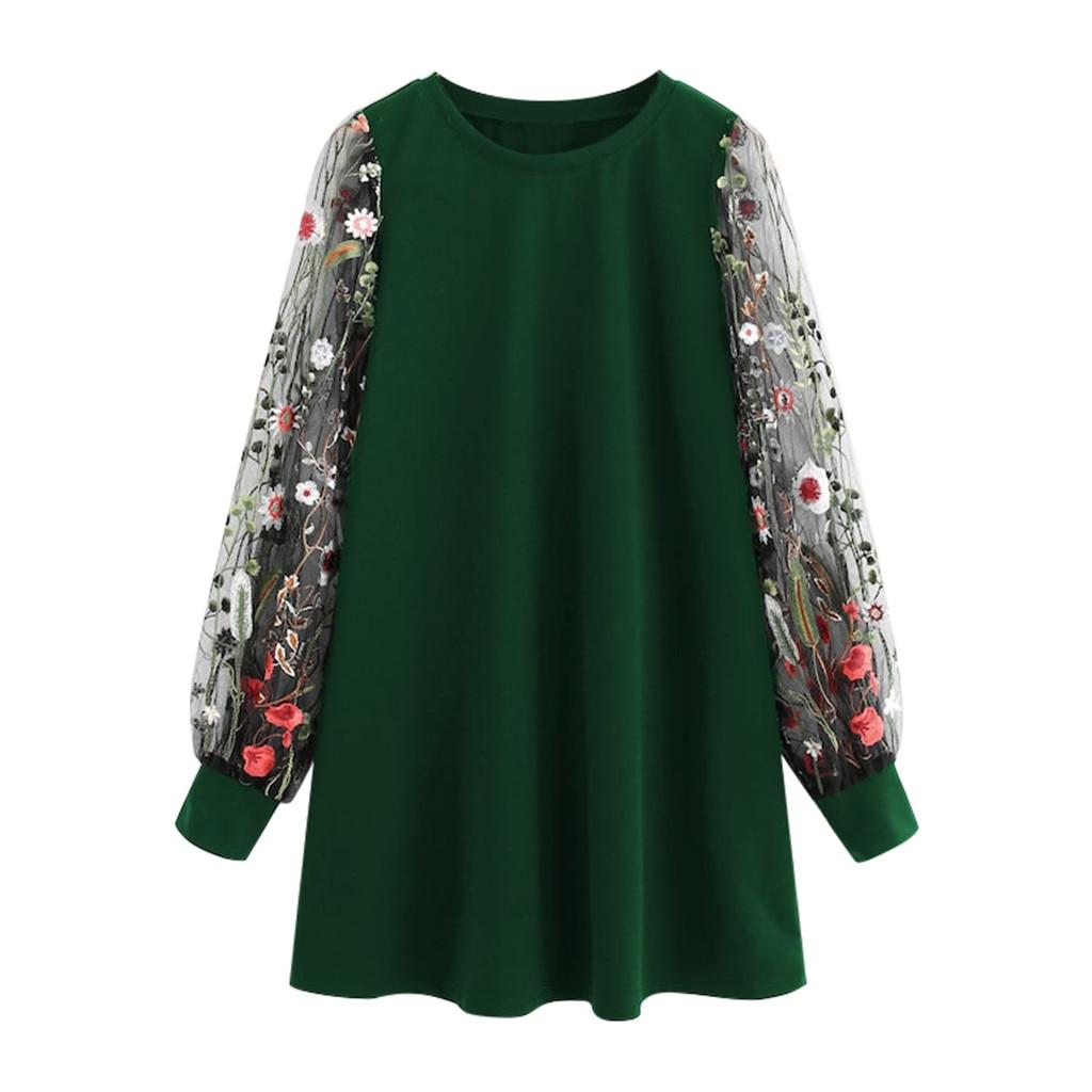 Women O-Neck Mesh Long Sleeve Botanical Embroidered Pullover Sweatshirt Dress Elegant Sexy See Through Sleeve Sweatshirts