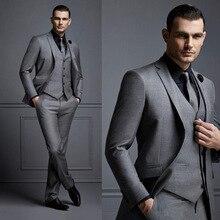 Traje hombre gris oscuro de moda para hombre trajes de boda para mejores hombres esmoquin de novio ajustado para hombre (chaqueta + chaleco + pantalón)
