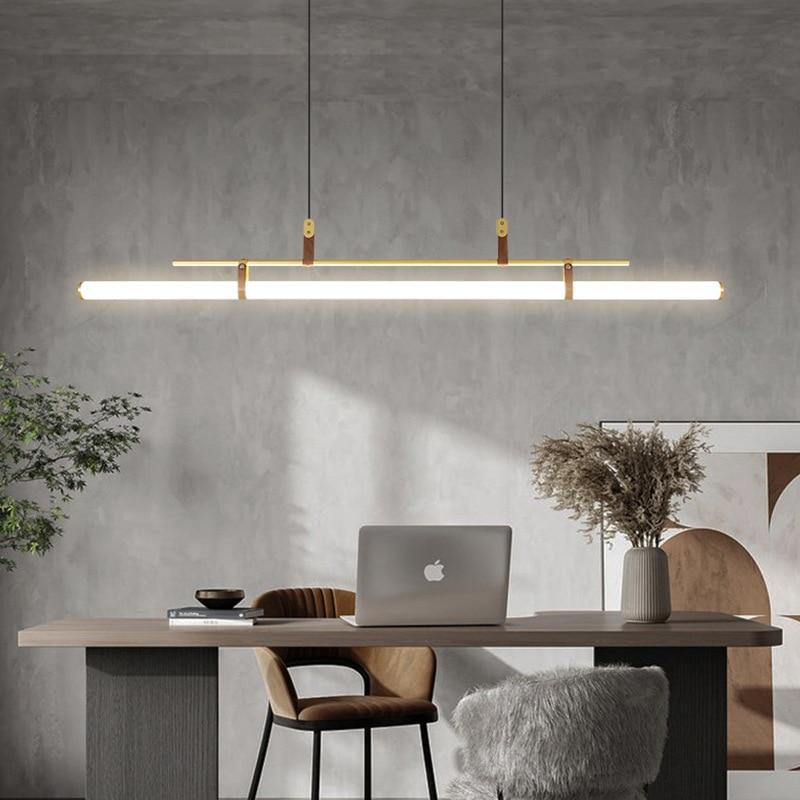 Акриловые подвесные светильники с длинной полосой, современные люстры для гостиной, декоративные светильники для столовой, кафе, светильни...