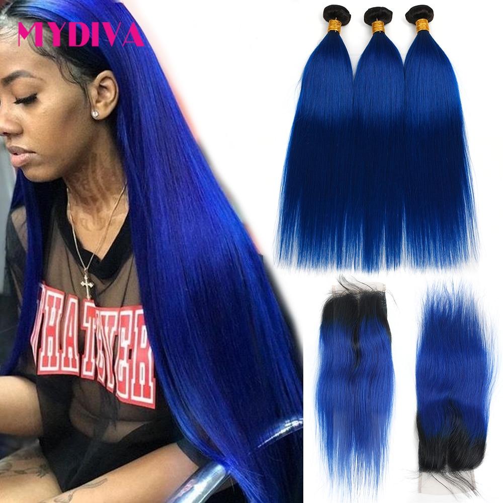Mydiva-وصلات شعر ريمي برازيلية طبيعية ، ألوان 1B ، أزرق مظلل ، مجموعة من 3