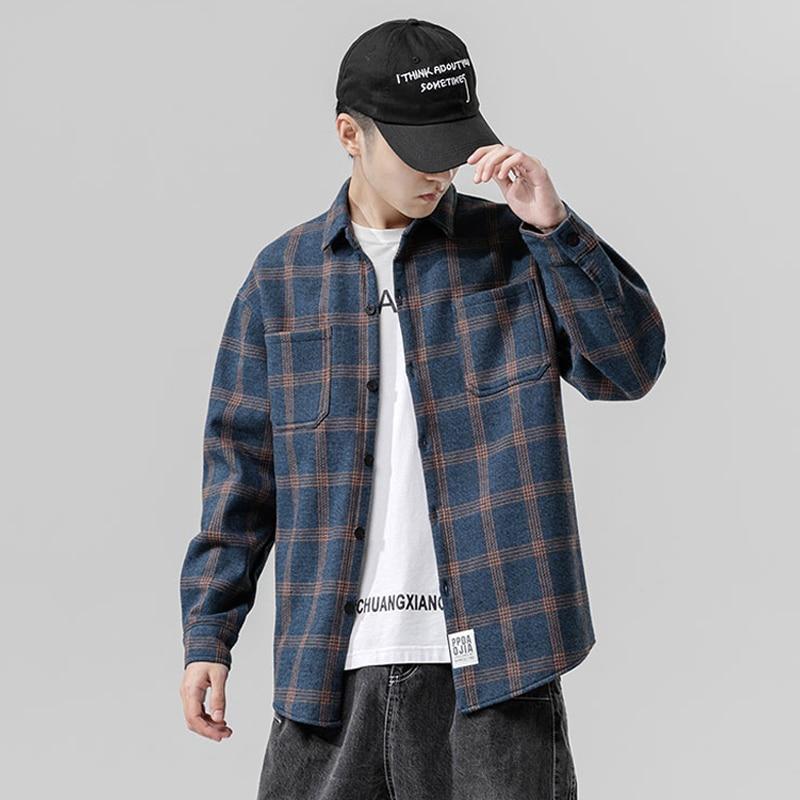 Новое поступление 2021, утепленные мужские повседневные рубашки в японском стиле с пушистыми вставками, зимний модный клетчатый Топ с длинны...
