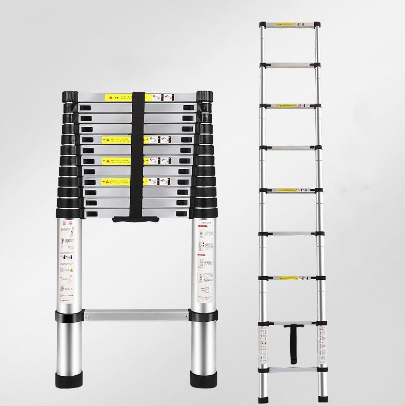 EN131 12.5ft (3.8m) telescopic ladder, folding ladder, aluminum ladder, multifunctional household thickened telescopic ladder