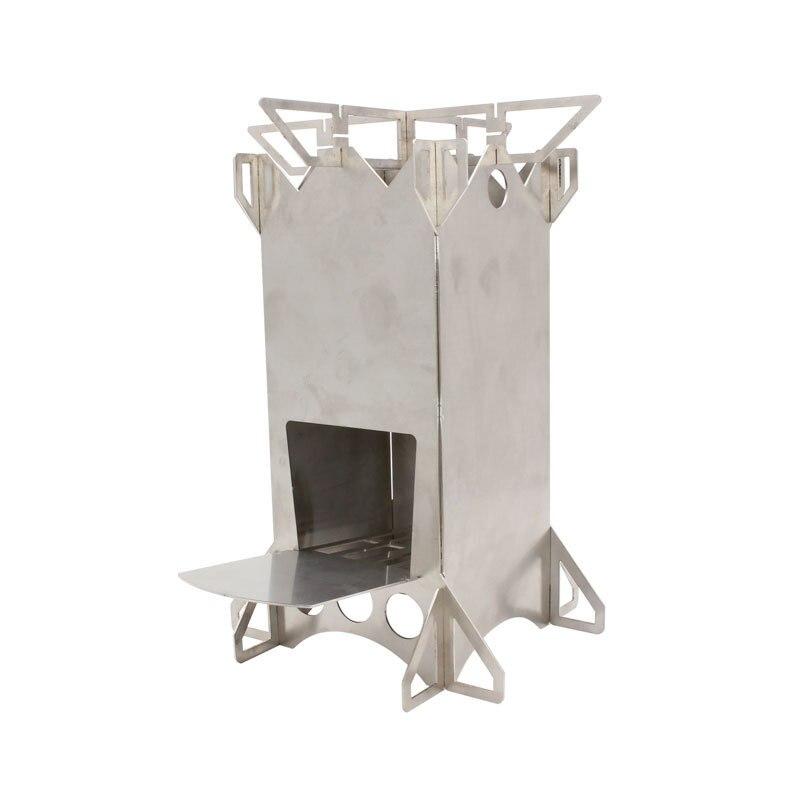 Estufa de leña plegable para acampar al aire libre estufa de cohete de acero inoxidable estufa de tienda de campaña de mochilero estufa de madera portátil al aire libre Ca