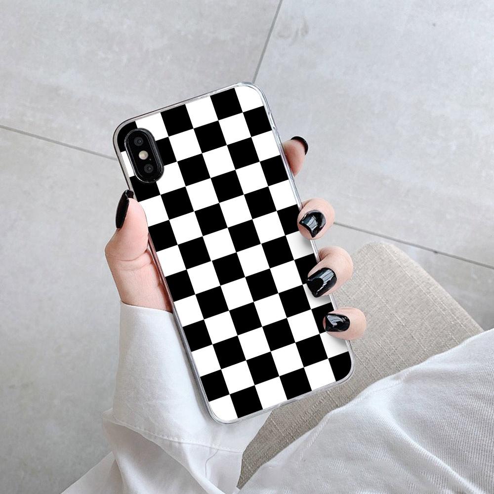 Чехол для iPhone 11 XS XR XS Max 8 7 6 6S Plus, черно-белый клетчатый чехол, мягкий чехол 2020 для iPhone 11 XR XS Max 8 7, задняя крышка
