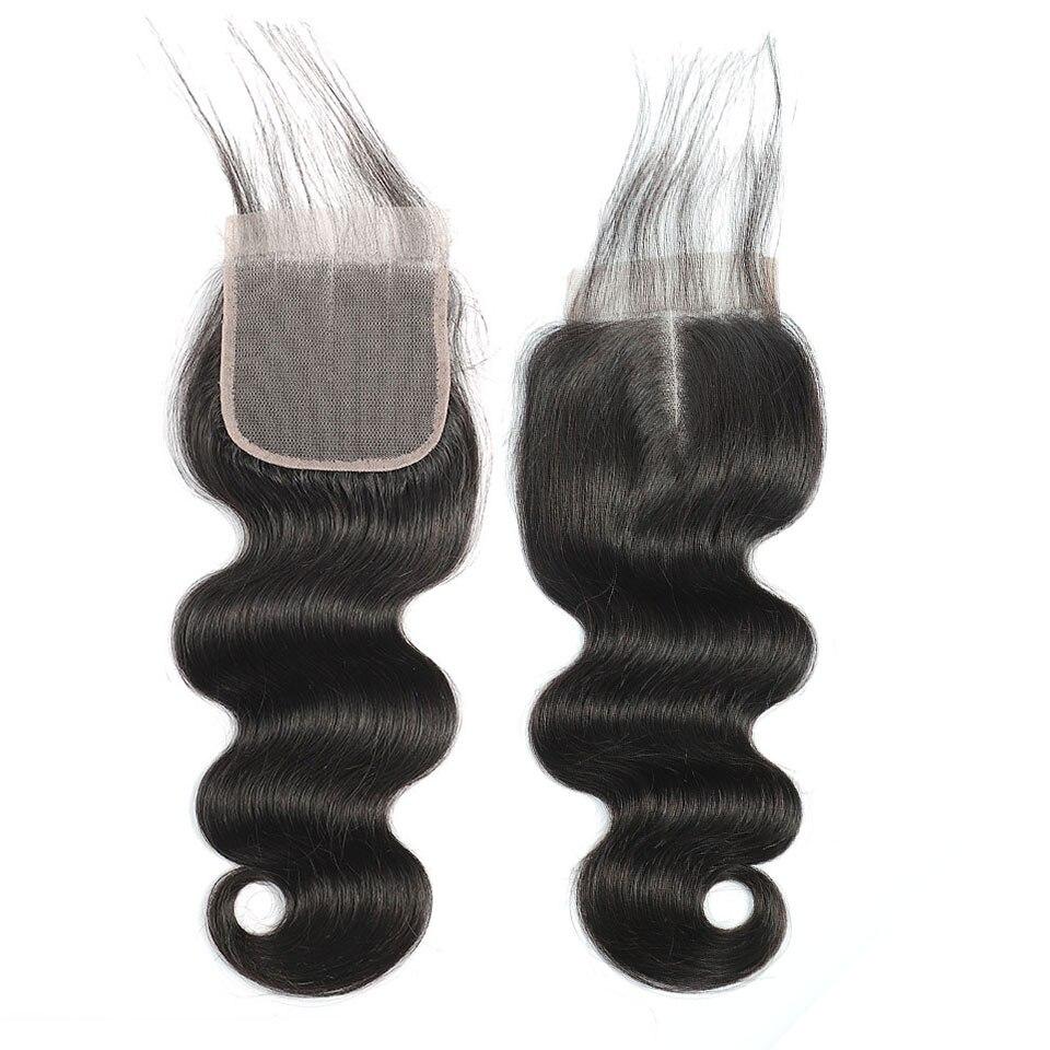 fechamento indiano do laco do cabelo 4x4 do virgin do corpo do cabelo do fechamento