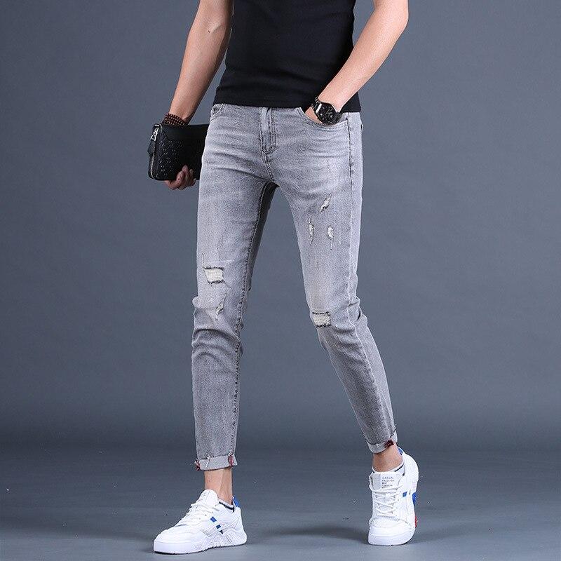Джинсы мужские зауженные на молнии, Брендовые брюки-карандаш, повседневные брюки карго, 34, лето