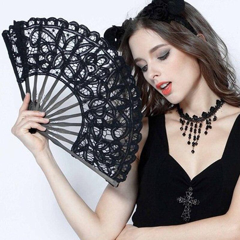Ventilador de mano de encaje europeo para dama de honor... ventilador plegable de encaje de estilo vintage