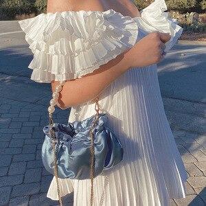 2020 New High Quality Shoulder Bag Women Simple pearl Dumplings Package Ladies Personality Satin Capacity Handbags Designer Bags