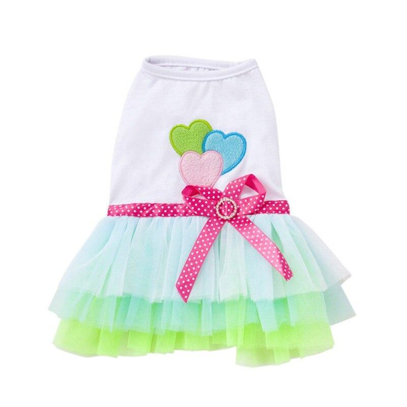 Pet Summer Clothes Small Dog Dress Cute Gauzy Skirt Tutu Princess Dress Heart & Lip Printed Puppy Dresses For Girl Small Dogs