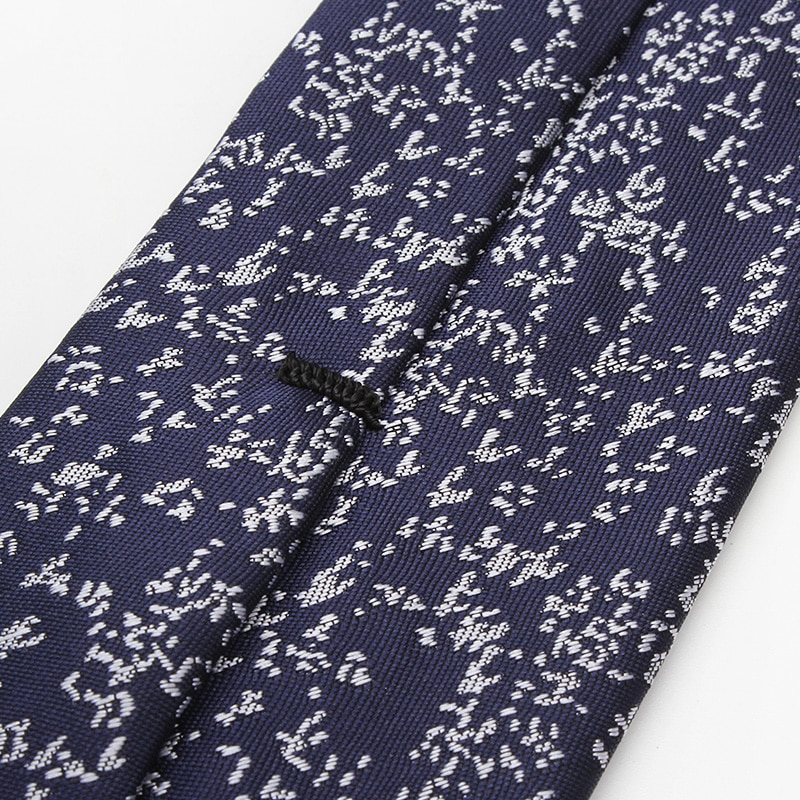 2019 Brand New Fashion High Quality Mens 5.5CM Pattern Navy Blue Necktie Business Formal Suit Neck Tie for Men with Gift Box