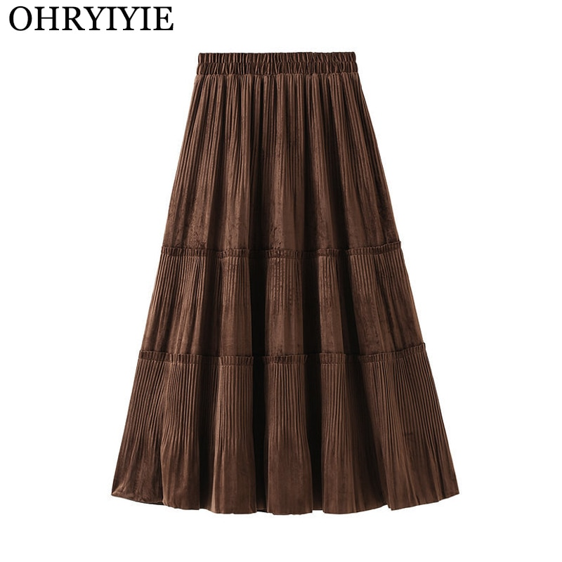 OHRYIYIE Solid Color Female Vintage Long Velvet Pleated Skirt Women Autumn Winter Elegant Fashion Ladies High Waist A line Skirt