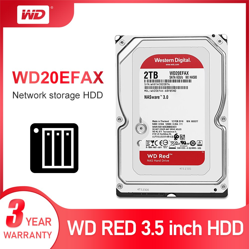 WD الأحمر 2 تيرا بايت شبكة تخزين 3.5 ''NAS قرص صلب الأحمر القرص 2 تيرا بايت 5400 RPM 256M مخبأ SATA3 6 جيجابايت/ثانية HDD WD20EFAX