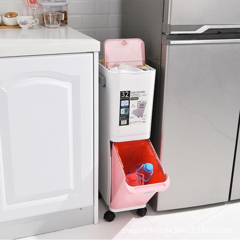 Fashion Creative 2 Layer Trash Bin Sorted Garbage Can Recycle Bin Gap Standing Bucket Space Saving Storage Box Kitchen Organizer enlarge