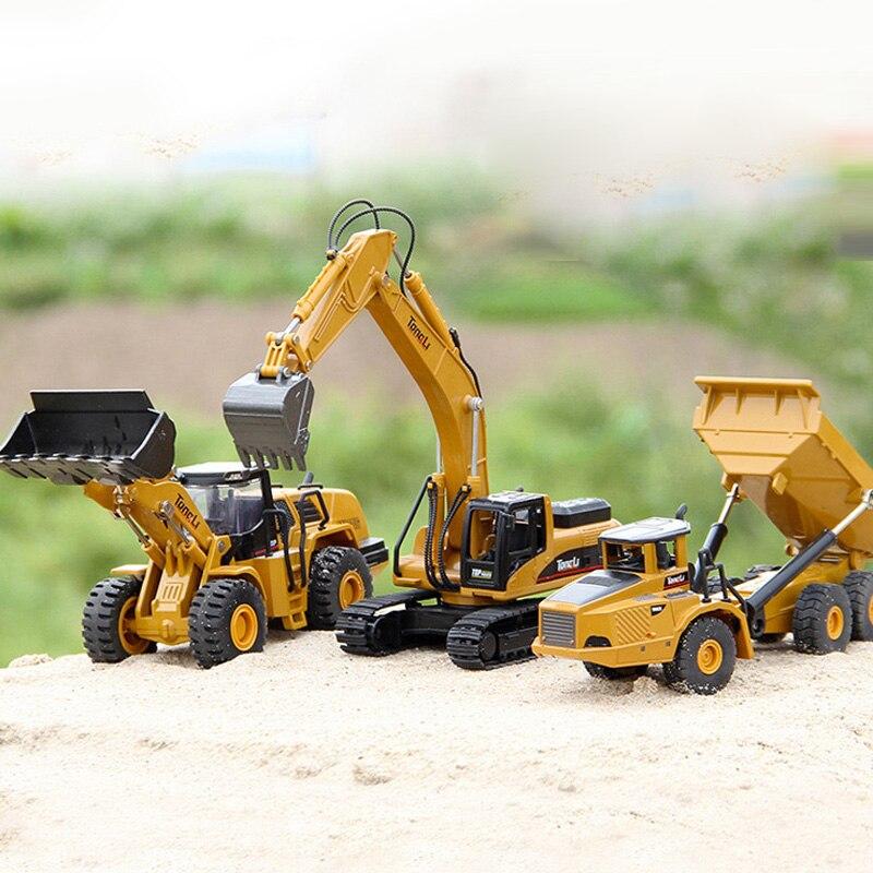 3 pçs tongli liga brinquedos 150 escala modelos fundidos caminhão dumper escavadeira pá carregador veículos de engenharia meninos presente de natal