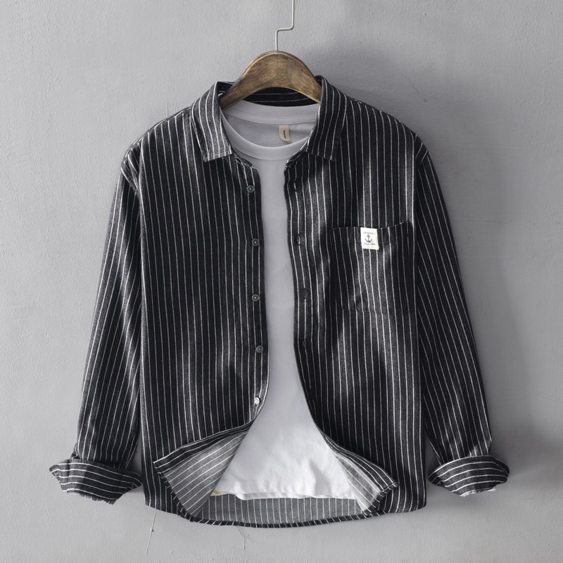 النمط الياباني خمر قمصان الرجال الموضة أعلى جودة 100% قميص قطني بكم طويل شريط قمصان الرجال أسود رمادي قميص رسمي للأعمال عادية