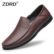 Designer Genuine Leather Loafers Shoes Men Summer Breathable Soft Hole Shoes Casual Business Office