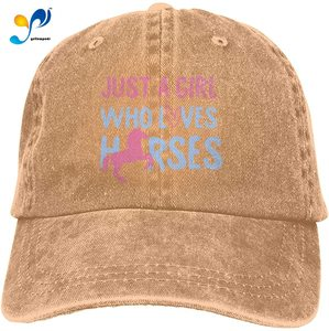 Just A Girl Who Loves Horses Pink Vintage Dad Baseball Cap Men's Trucker Hat