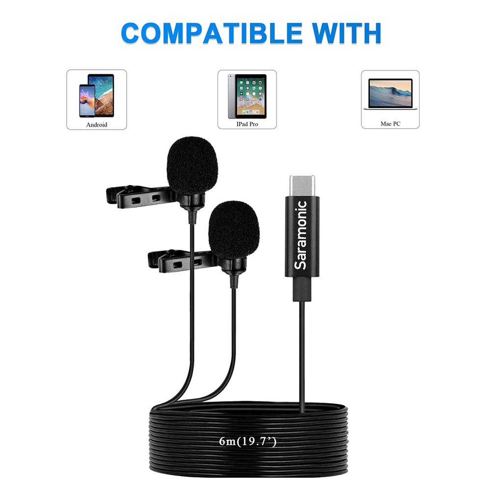 Saramonic LavMicro U3C Microphone à pince Lavalier numérique à double tête avec connecteur type-c Compatible avec Smartphone de Type USB-C