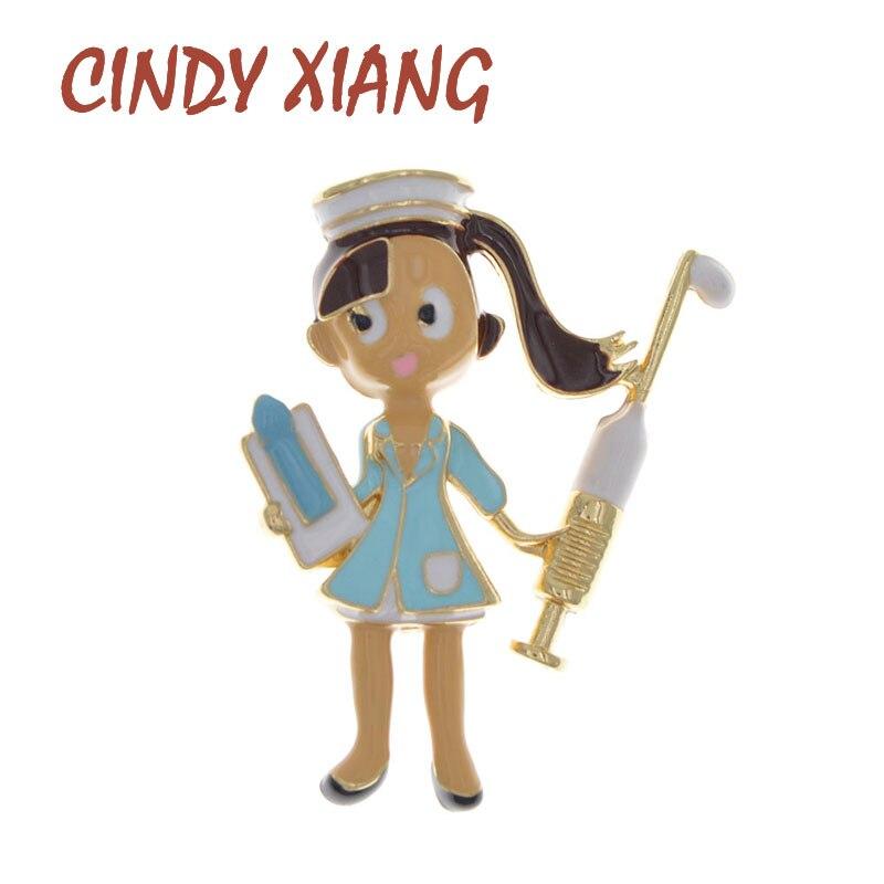 Broche de esmalte con diseño de enfermera de CINDY XIANG, Pin bonito para niña, 3 colores, broches de estilo humano a la moda de alta calidad