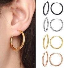 VNOX Basic Stainless Steel Hoop Earrings for Women Man Round Circle Loop Earring aretes 25mm/20mm/11mm Unisex Ear Jewelry