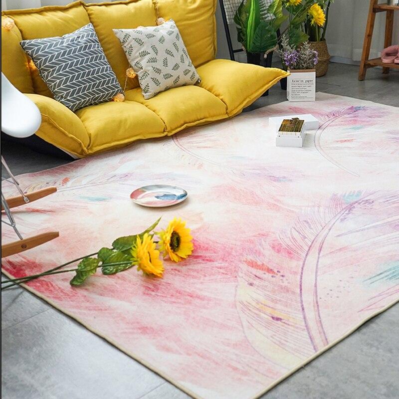 سجاد كبير باللون الوردي/الأزرق لغرفة المعيشة وغرفة الفتيات ، سجادة أرضية للعب الأطفال ، بنمط الريش