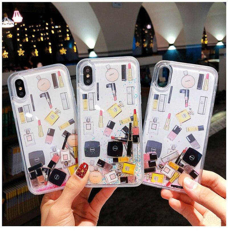 Maquillaje cosmético arenas movedizas caso para iphone 11 XS Max X XR Bling glitter dinámica líquido teléfono caso duro para el iphone 6 6s 7 7 plus