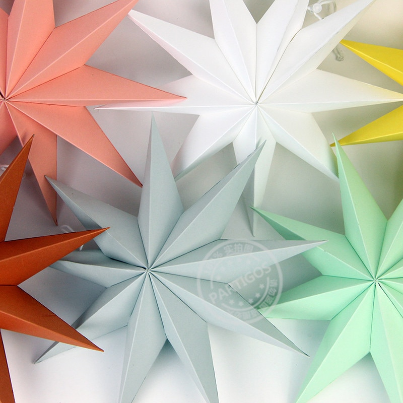 1pcs paper stars Nine-star paper decoration Nine-pointed star paper wedding decor party supplies stars decor elegant room decor