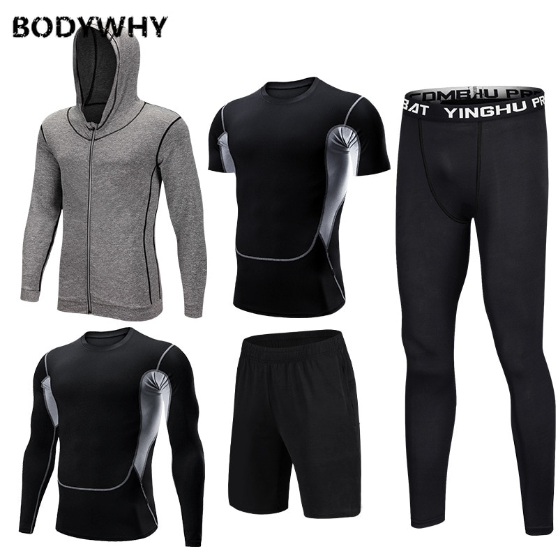 Mens Sportswear 5 Pcs/Set Gym Fitness Clothes Men Running Jogging Male Tracksuit Compression Sports Wear for Workout Sport Suits