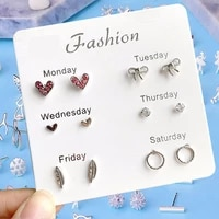 6pcsset monday to saturday stud earrings matching fashion simple korean ear studs pearl crystal one week ins earring set