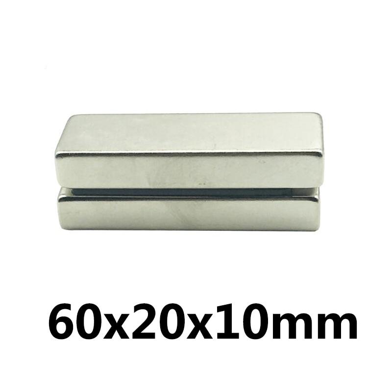 Imán de neodimio superfuerte de 1 ~ 20 piezas, 60x20x10mm, Imán con bloqueo permanente de 60x20x10mm, imanes magnéticos potentes de 60x20x10mm