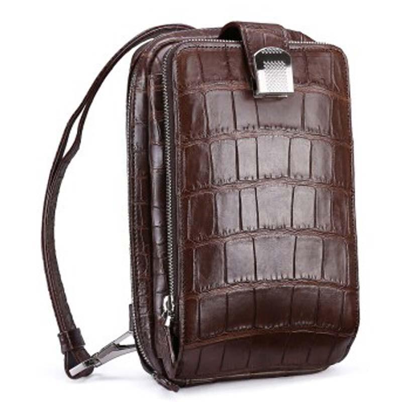 fasiqi new nile crocodile leather wallet male crocodile bag fashion male clutch bag single shoulder bag  casual men bag