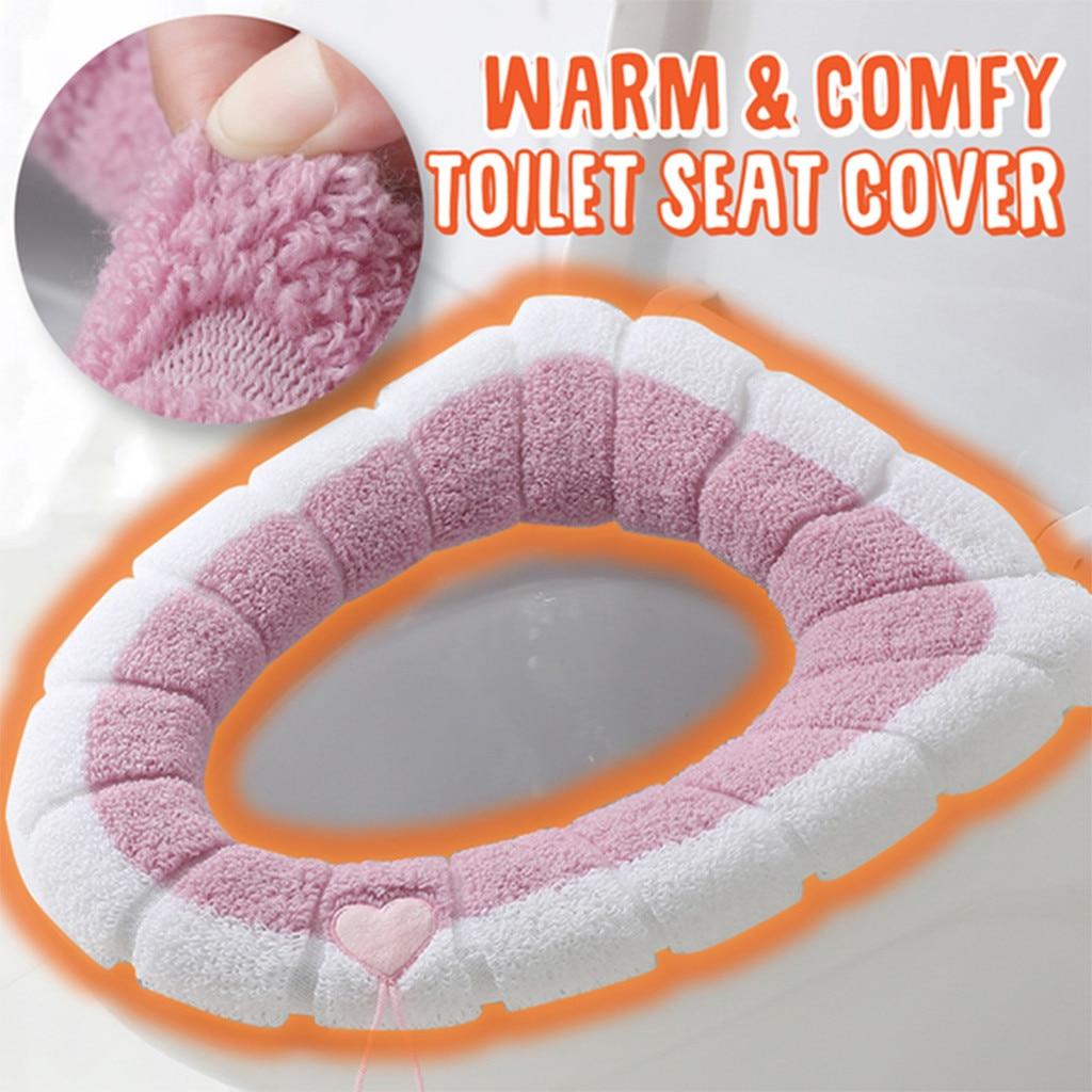 Funda cálida y cómoda para asiento de inodoro, alfombrilla lavable para inodoro,...