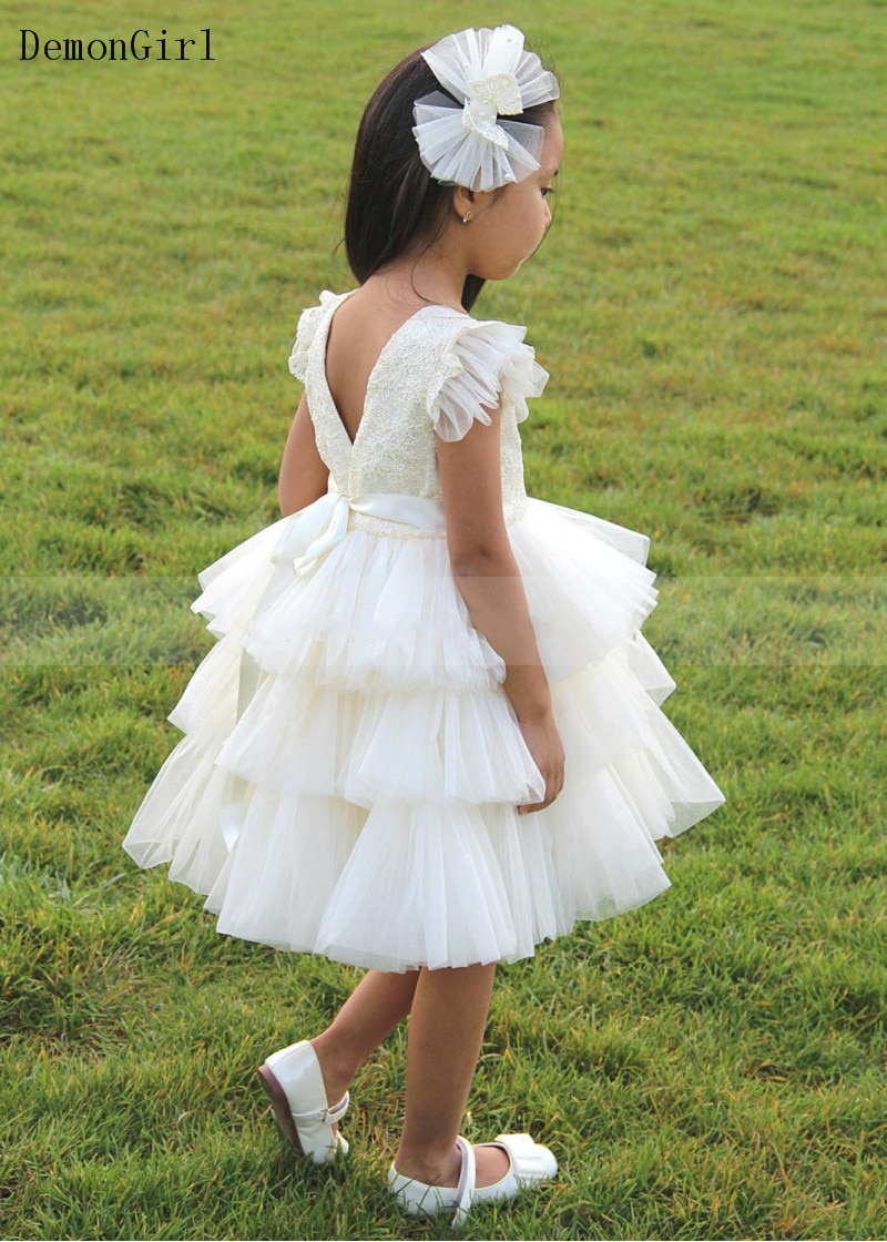 New Puffy Flower Girl Dress Tiered Tulle Lace Cap Sleeve Children Knee Length Party Gown Birthday Dress New Year frilled sleeve brush stroke grid tiered dress