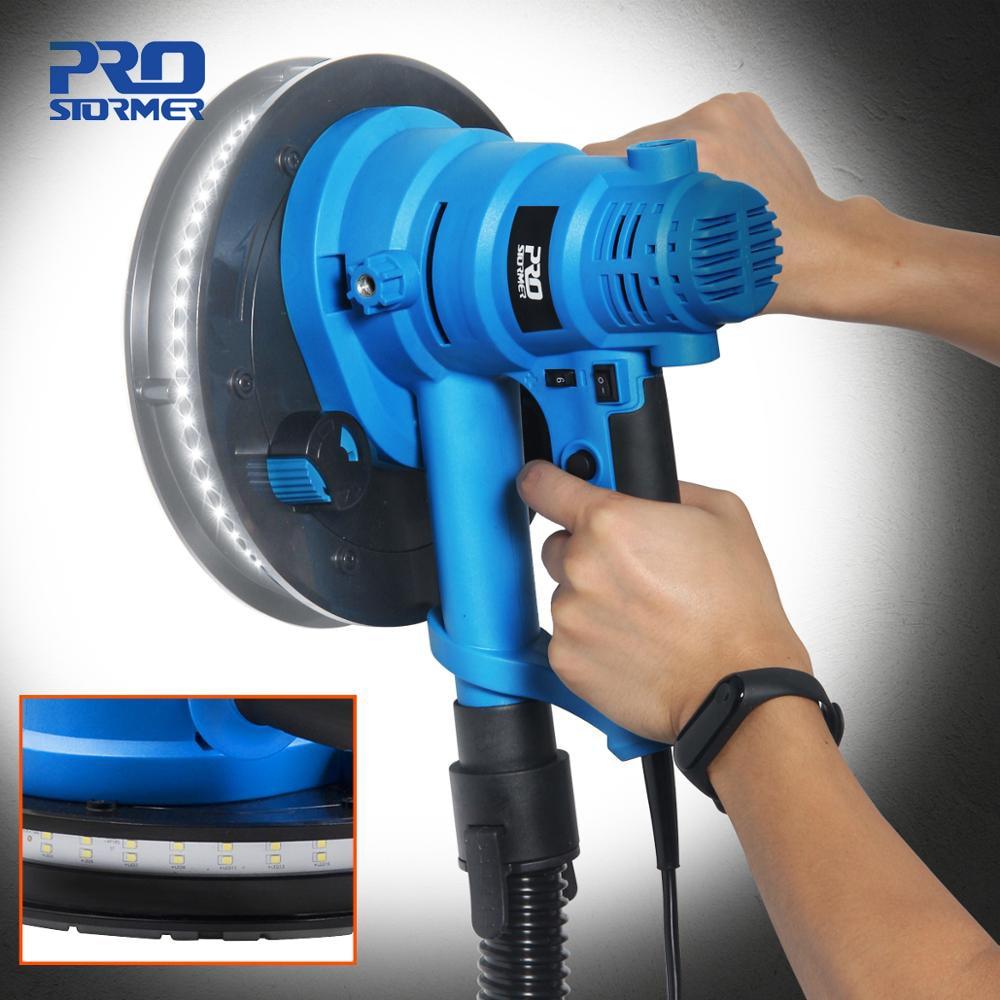 750W Drywall Sander 230V Wall Polishing Machine Grinding Portable Led Light 610-2150/min Wall Putty Polisher Machine  PROSTORMER