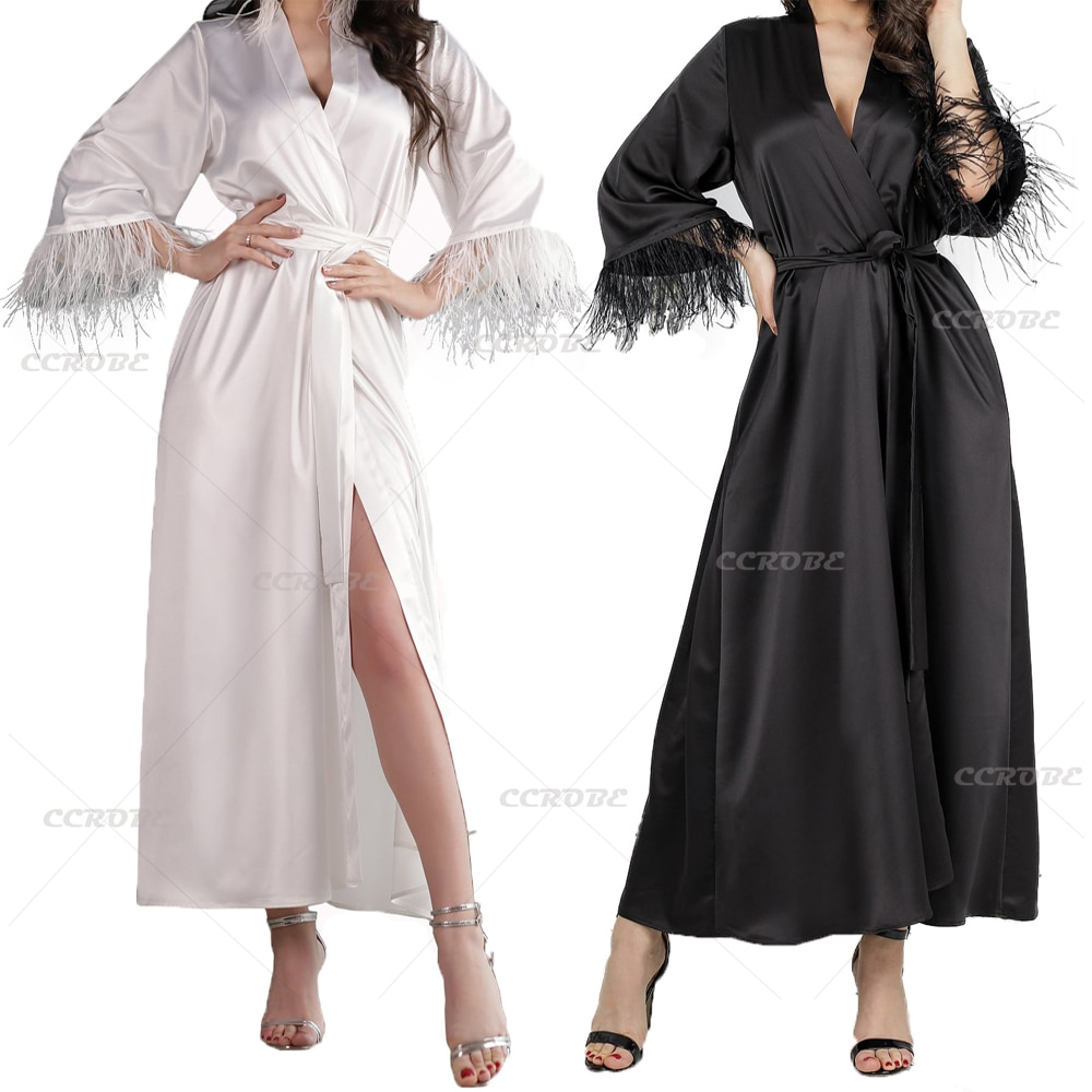 Women Feather Robe Sleeves Satin Silk Boudoir Bride Bathrobe Wedding Dressing Gown Sexy V-neck Sleepwear Photoshoot Dress